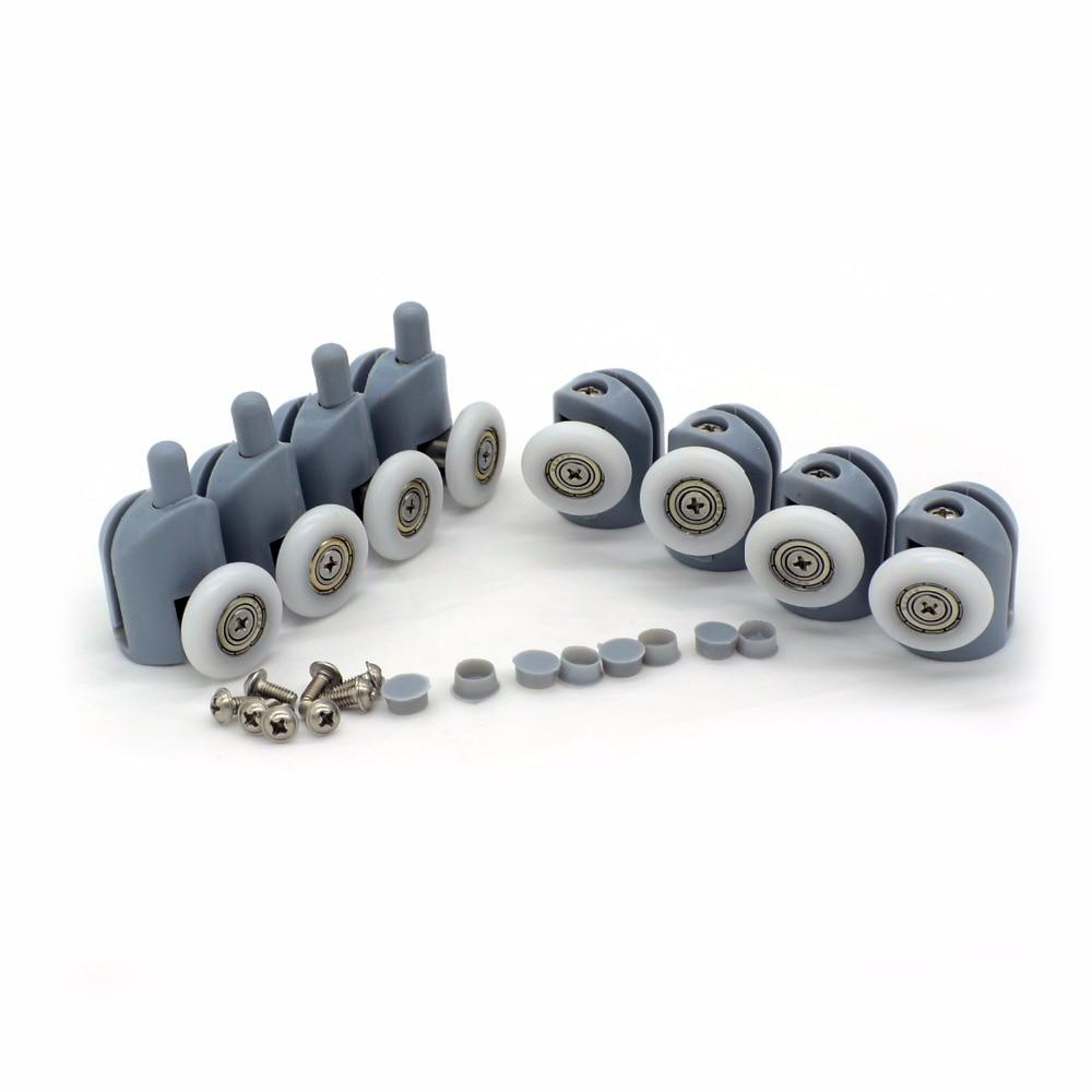 4 UDS-8 uds/1 juego de ruedas de polea emergente de 23/25mm rodamiento de aleación de zinc, accesorios de cabina de ducha con rodillo de puerta corredera