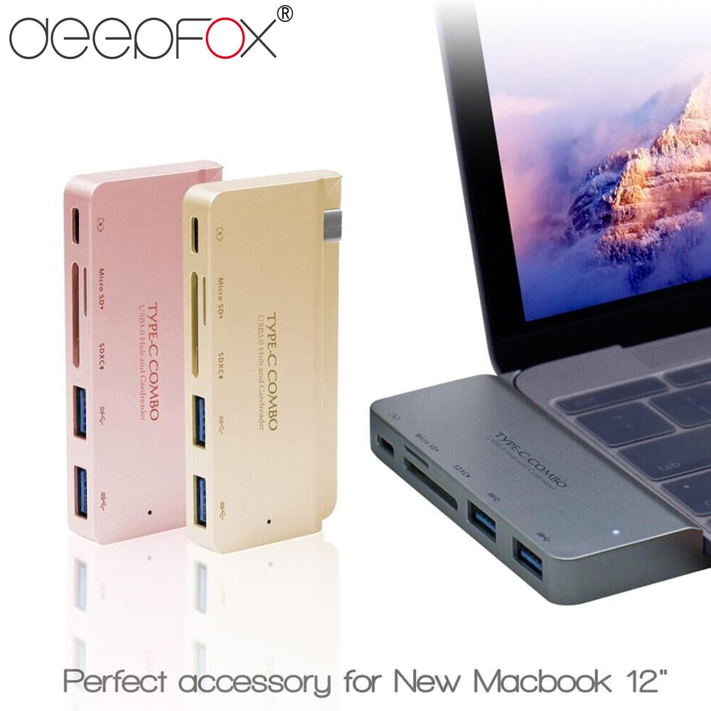 DeepFox alta calidad ABS Material USB 3,1 tipo-c a USB 3,0 SD HUB lector de tarjetas soporte tipo-c PD carga para nuevo Macbook 12