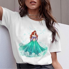 Women Clothes 2019 Tee Shirt Femme Harajuku T Shirt Green Dress Princess Streetwear Aesthetic Tops  Korean Vogue Camiseta Mujer
