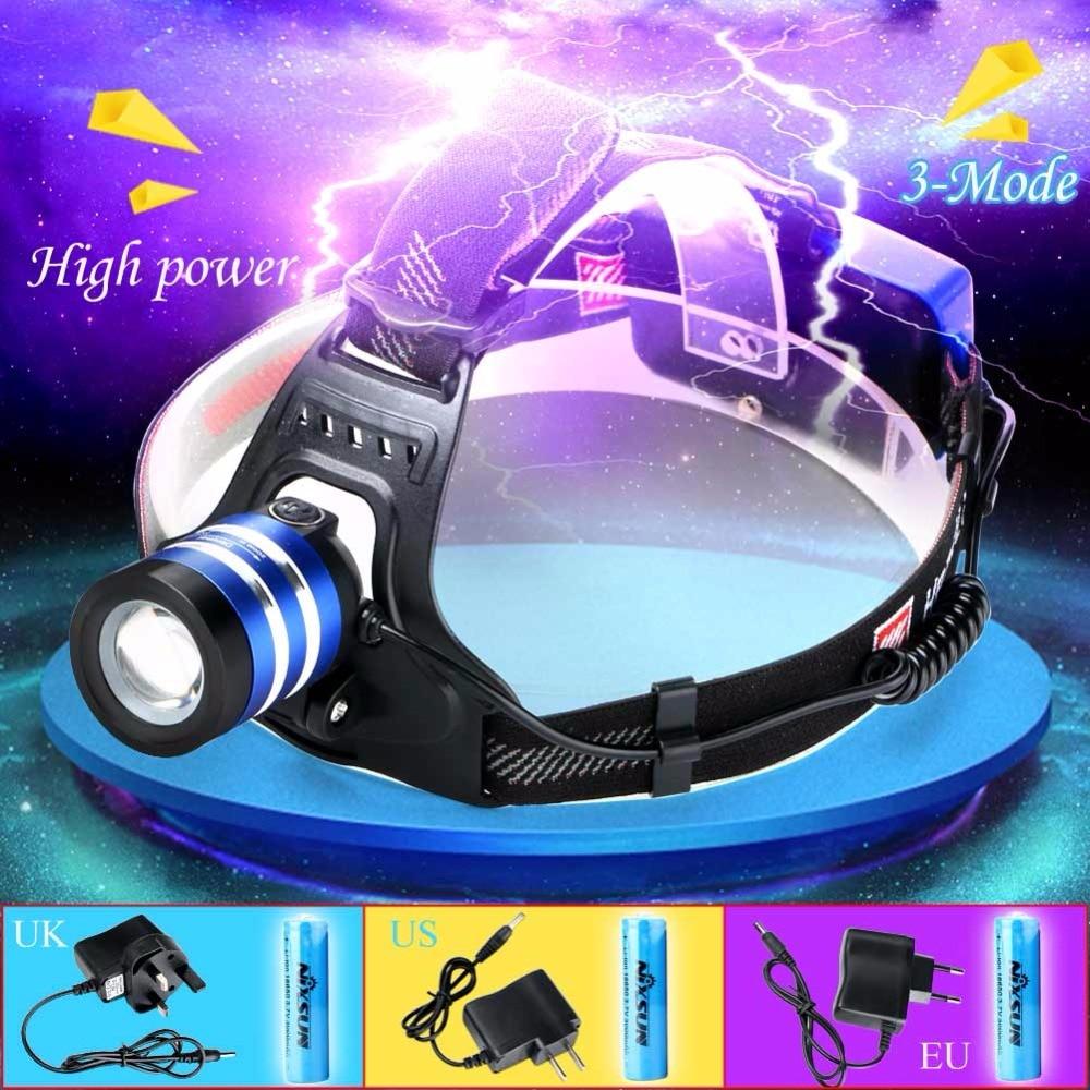 3000 Lumen T6 LED 18650 Rechargeable Headlamp Headlight Flashlight Zoomable Head Lamp Light Camping Hiking EU/US/UK Changer