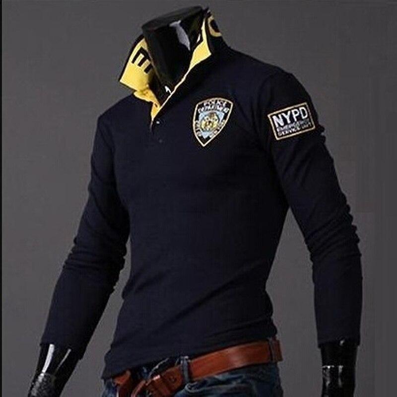 Zogaa masculino causal quente respirável manga longa polo camisas carta impresso camisa turn-down collar venda quente masculino polo camisas 2019