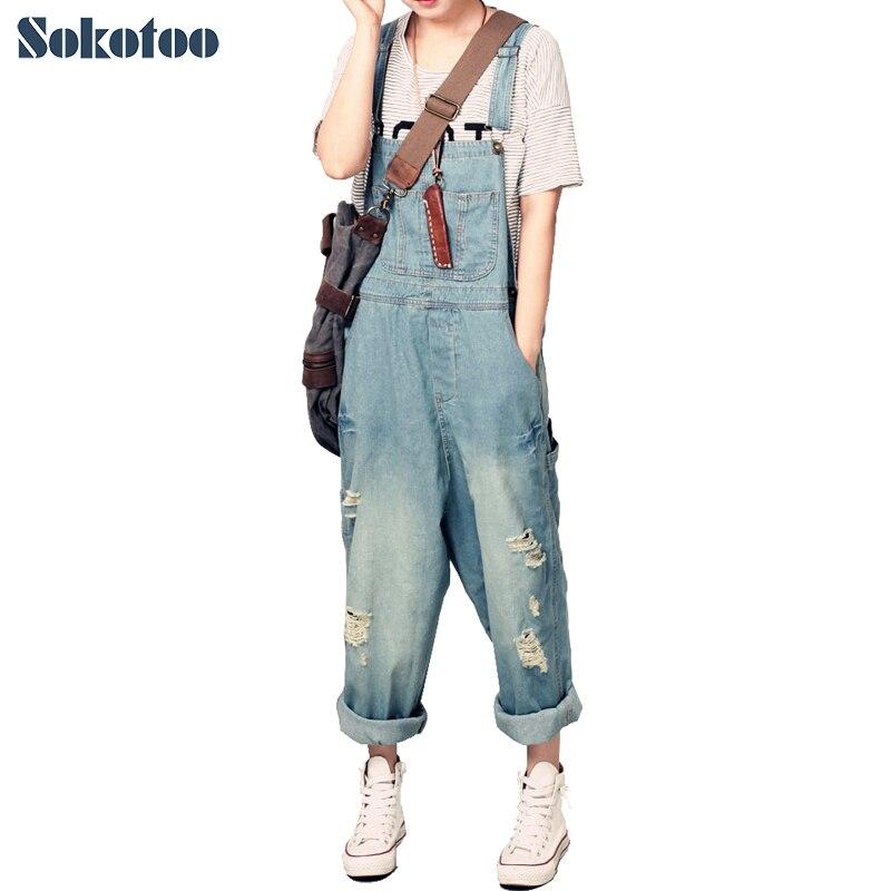 Sokotoo-بنطلون جينز نسائي فضفاض ، دنغري نسائي غير رسمي ، جينز فضفاض ممزق كبير الحجم ، أرجل واسعة
