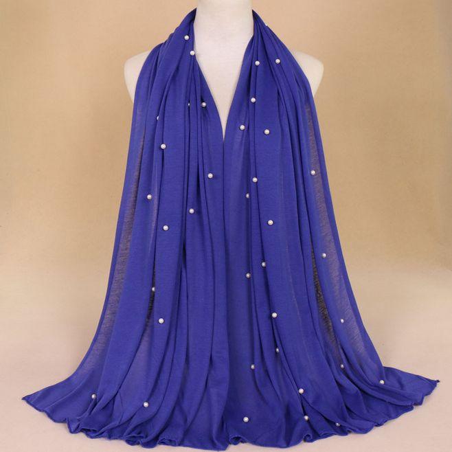 De moda viscosa hijabs jersey con perla musulmán islámico liso pañuelo pañuelos largos de gran tamaño chal bufanda para cabeza secreto 190x90cm
