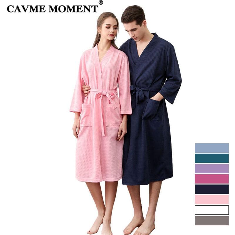 CAVME 2pcs Bridesmaid Plus Size LOGO CUSTOM Waffle Robe Summer Kimono Unisex Bathrobe Sleepwear Night Gown Dressing for Homme