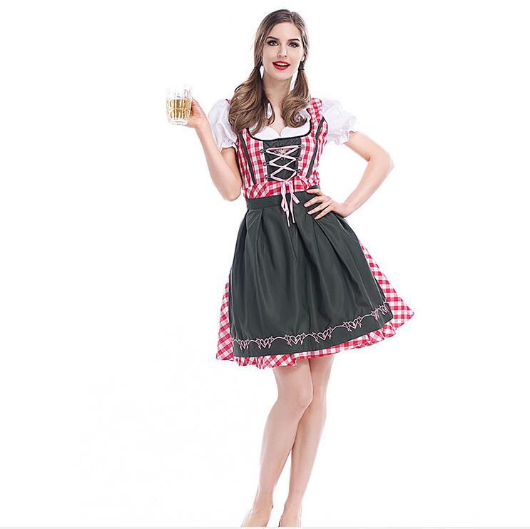Oktoberfest Festival de la cerveza October Dirndl vestido de lencería sexy de sirvienta delantal vestido con blusa alemana Wench 6XL disfraz adulto vestido de lujo
