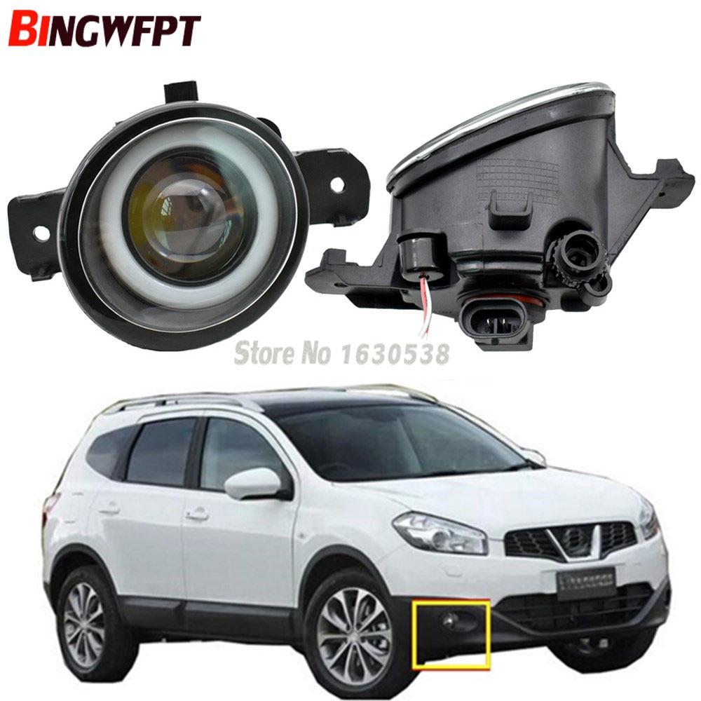 2 uds, luces antiniebla LED de ojo de Ángel para coche para Nissan Qashqai J10 JJ10 2007-2013, luces antiniebla de parachoques frontal derecho izquierdo