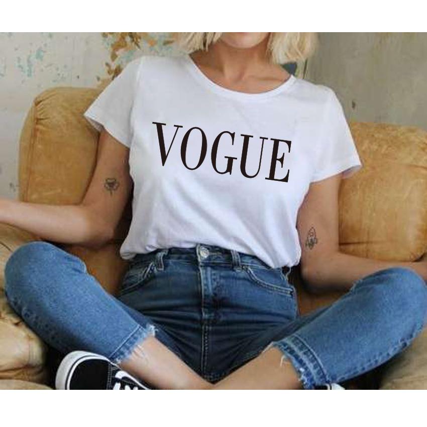 Harajuku Fashion VOGUE Letter Printed T-Shirts Women Tops Tee t shirt Women For Female tumblr Black/White kawaii Short Sleeve
