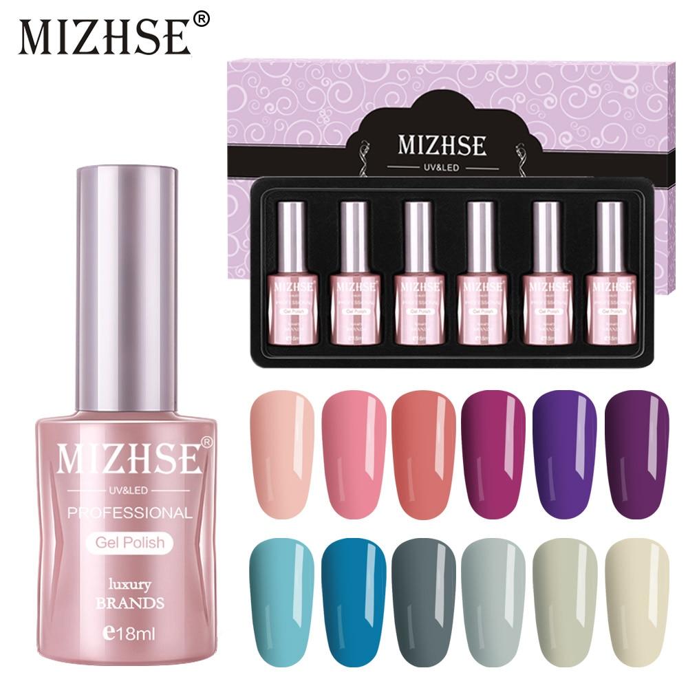 Mizhse 6 pçs cor pura uv gel unha polonês conjunto para manicure unha arte kit verniz gel acrílico uv led gel verniz híbrido gelpolonês