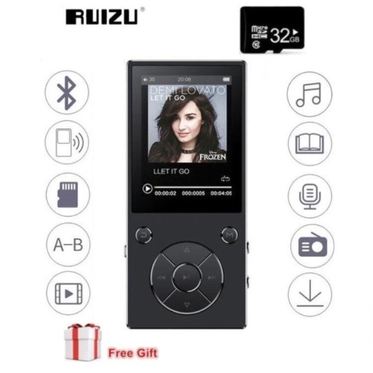 Original RUIZU D11 8 GB MP4 jugador Bluetooth 2,4 pulgadas reproductor de música FM Radio grabadora de voz ranura para tarjeta TF incorporada mic