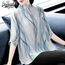 fashion women blouses 2019 elegant Silk Chiffon Blouse shirt stirped office blouse women summer tops female women shirts 2747 50