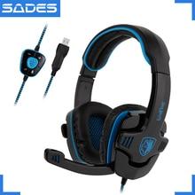 SADES WOLFANG virtuel 7.1 Surround son casque USB lecteur par fil bandeau casque pour Gamer