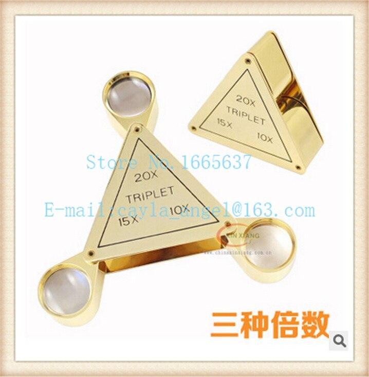 Envío Gratis lupa de joyeros de alta calidad 10X 15X 20X triángulo triplete lupa ojo lupas 1 unids/lote