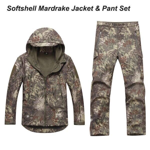 Conjuntos conjuntos dos homens Camuflagem Mardrake TAD Softshell Jacket & pants respirável à prova de vento à prova d água de boa qualidade Highlander Typhon
