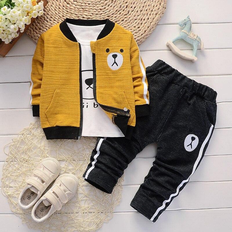 Toddler Boys Clothing Sets Spring Autumn Kids Bear Outfits T-shirt+Pants 3pcs Tracksuit Fashion Children Sport Suit