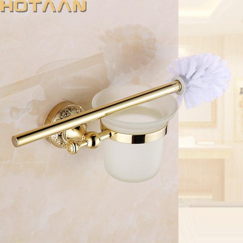الذهب مطلي المرحاض فرشاة حامل الحائط فرشاة المرحاض حامل مع السيراميك كوب المنزلية المنتج حمام الأجهزة مجموعة YT-12912