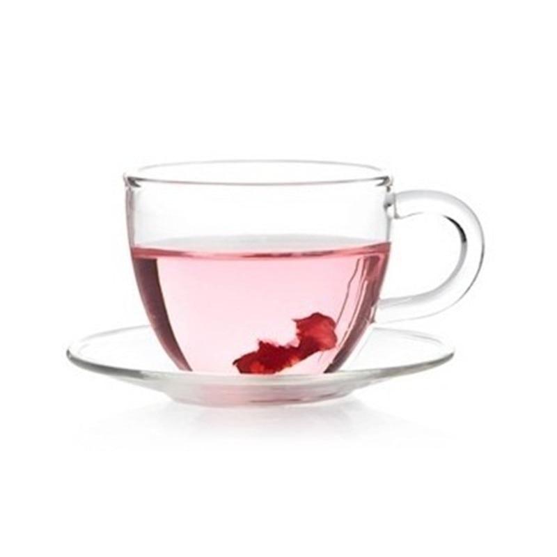 Tea Set 80ml Heat Resistant Clear Glass Coffee Tea Cups Mugs +Saucer