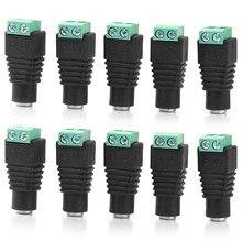 Prise de caméra CCTV prise cc 10 pièces   Câble dalimentation cc 5.5mm x 2.1mm connecteur de prise femelle adaptateur Jack 5.5*2.1mm à connexion bande led