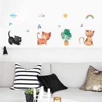 naughty cats wall stickers for kids room bedroom baseboard home decoration cartoon animal kitten mural art wall decal pvc poster