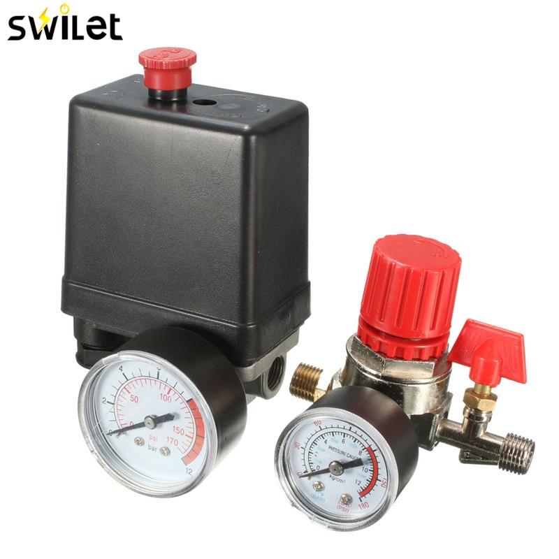 7,25-125 PSI маленький переключатель давления для воздушного компрессора управления 15A 240 V/AC Регулируемый воздушный регулятор, клапан, компрессо...