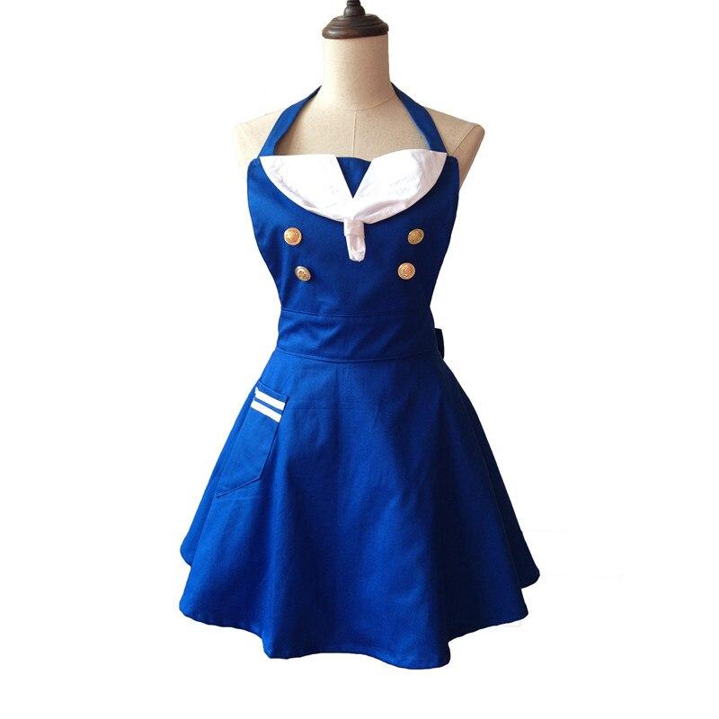 Delantal de cocina bonito marinero criada camarera de algodón manicura peluquería delantal de cocina vestido Avental de Cozinha Divertido Pinafore