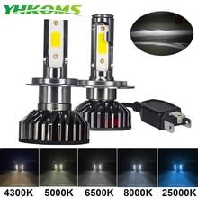 YHKOMS Mini Taille Voiture Phare H4 H7 LED 3000K 4300K 5000K 6500K 8000K 25000K H1 H8 H9 H11 9005 9006 LED Ampoule Auto Antibrouillard 12V