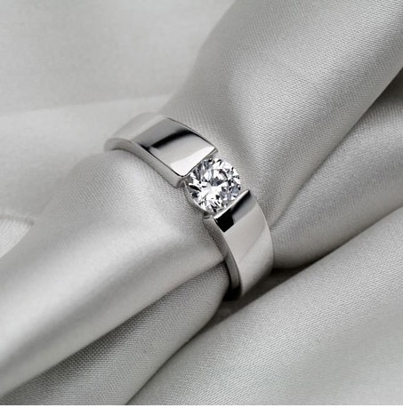 Solid 14K 585 White Gold Classic Captivating 0.5Ct Diamond Engagement Ring Top Brand Super Bridal Gold Unisex Jewelry