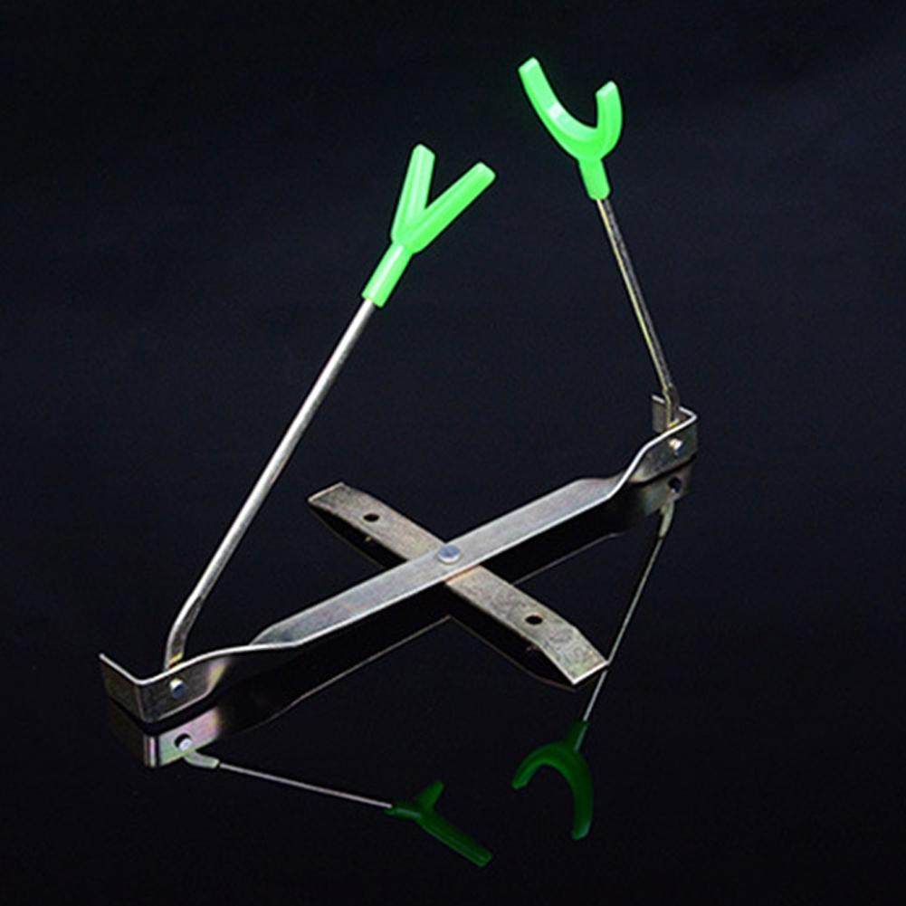 Barra de pesca de hielo al aire libre Mounchain soporte doble estante de rotación de Metal poste Y soporte de forma