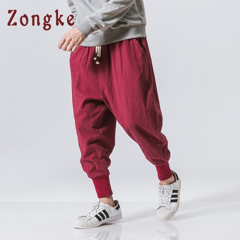 Zongke Chinês Estilo Harem Pants Homens Calças Lápis Homens Calças de Linho de Algodão Streetwear Moletom Basculador Corredores Calças Dos Homens 2018