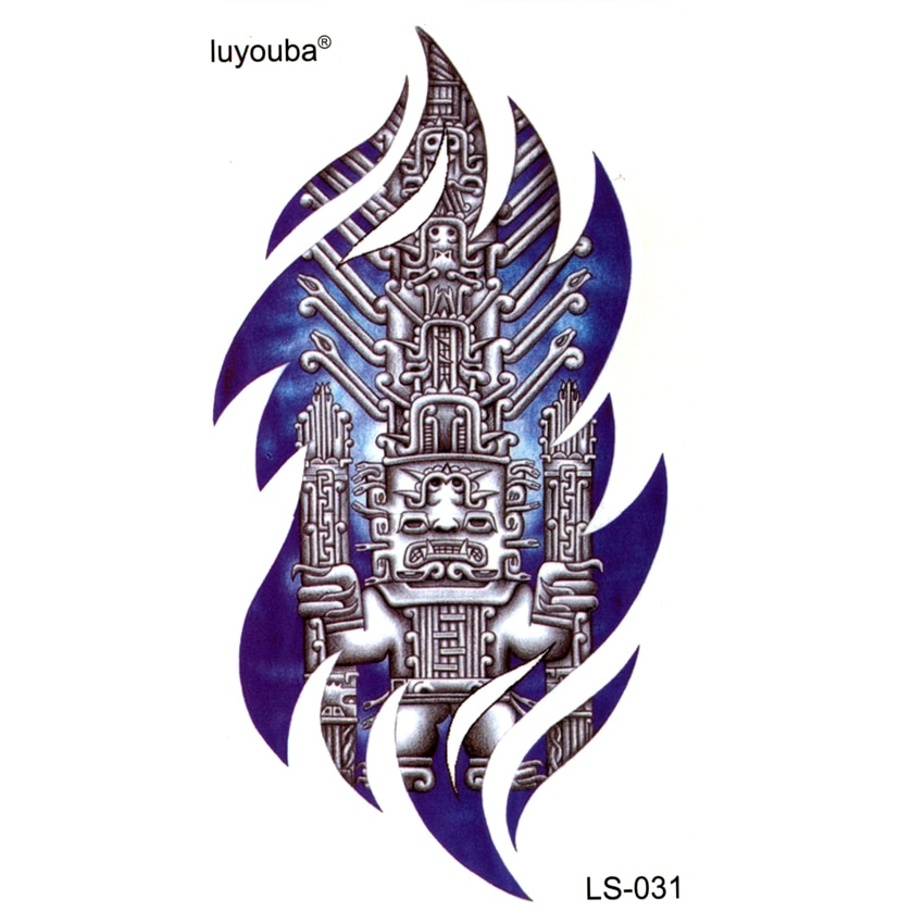 Tatuajes temporales a prueba de agua de la civilización Maya de 20 piezas, tatuajes falsos de harajuku para hombres