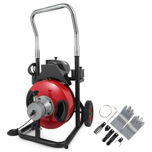 """20-100mm 250W Pipe Drain Cleaner Cleaning Machine 50""""x 1/2"""" Augers Spring Cable Metal Steel Swinging Dredging Springs Forward"""