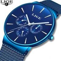 relojes new lige blue watch for mens watches top brand luxury clock man casual ultra thin mesh belt waterproof quartz wristwatch