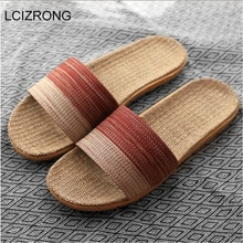 Nova unisex chinelos de linho das mulheres dos homens antiderrapante 35-45 tamanho 7 cores gradiente listra praia sapatos planos masculinos slides casa chinelo