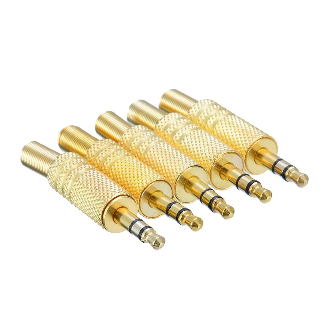 5 unids/pack 1/8 pulgadas 3,5mm conector macho Cable coaxial conector de Audio soldadura 3 polos 3,5 conectores de adaptador de enchufe de Audio