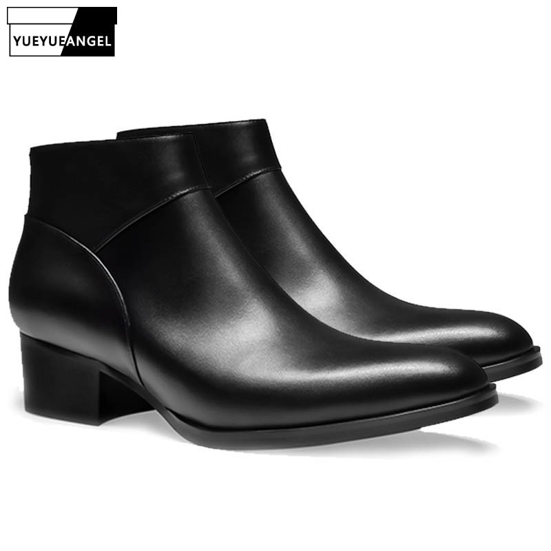 Zapatos británicos de oficina para hombre con punta en pico, Botines de cuero genuino formales altos, zapatos de seguridad de trabajo con cremallera, zapatos de vestir de boda