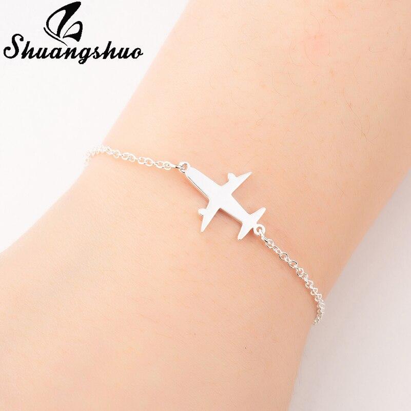 Shuangshuo Flugzeug Einstellbare Charm Armbänder für Frauen Schmuck Link Kette Edelstahl Aircraft Flugzeug Armband femme