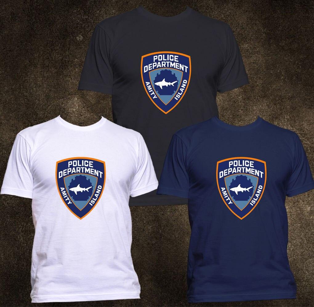 2019 Fashion NEW BOARDRIPPAZ AMITY ISLAND POLICE DEPARTMENT JAWS RETRO T-SHIRT Tee shirt