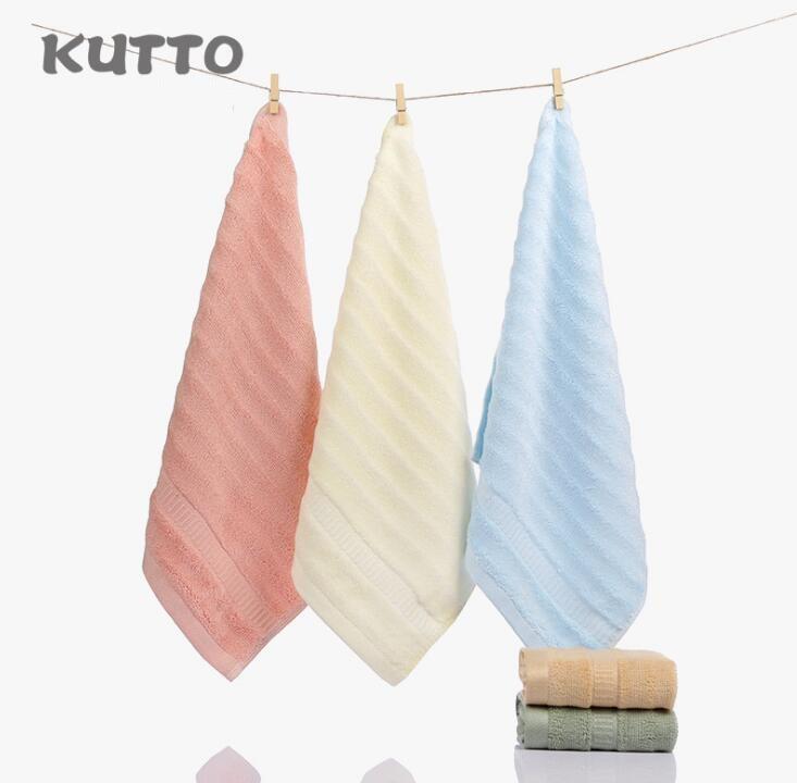 Kutto Bamboo fiber towel 34*34cm Small towel children elegant striped towels