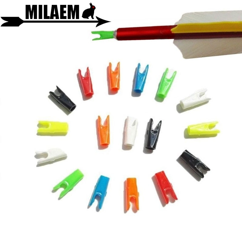 50/100 pçs archery pino nock seta de plástico para id 6.0mm 6.2mm eixo da seta esportes ao ar livre caça tiro seta acessórios