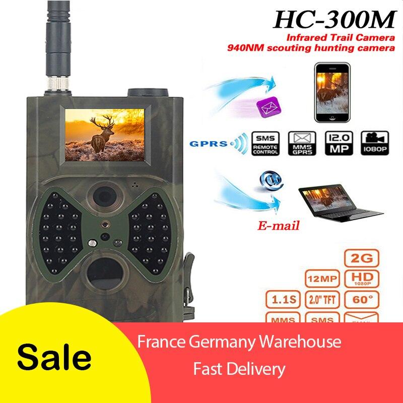2G GSM MMS cámara de rastreo para caza 12MP 1080P foto trampas salvaje Cámara HC300M Chasse de la vida silvestre de vigilancia pista Cam