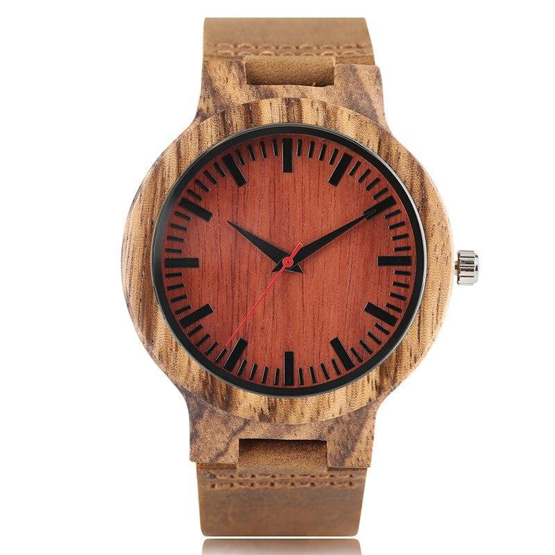 Relojes de moda para hombres caja de madera de bambú natural patrón de cebra correa de cuero genuino Correa única roja Dial Casual cuarzo regalo analógico