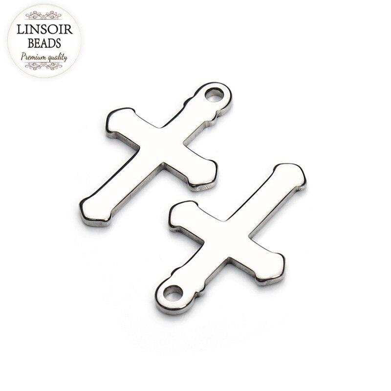 Moda 20 unids/lote 12*19mm cruces de acero inoxidable encantos ajuste collar flotante encantos hechos a mano colgante DIY fabricación de joyería F3474