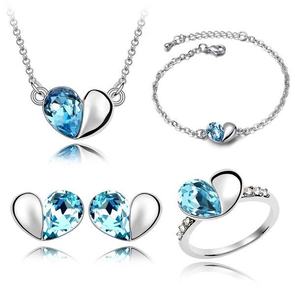 Venta al por mayor, conjuntos de joyas de cristal, bonitos colgantes de corazón, collares, pendientes, anillo y pulsera, brazaletes chapados en plata para mujer