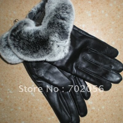 Fox fur Real lambskin Gloves skin gloves LEATHER GLOVES Warm Fashion 6pairs/lot #2419