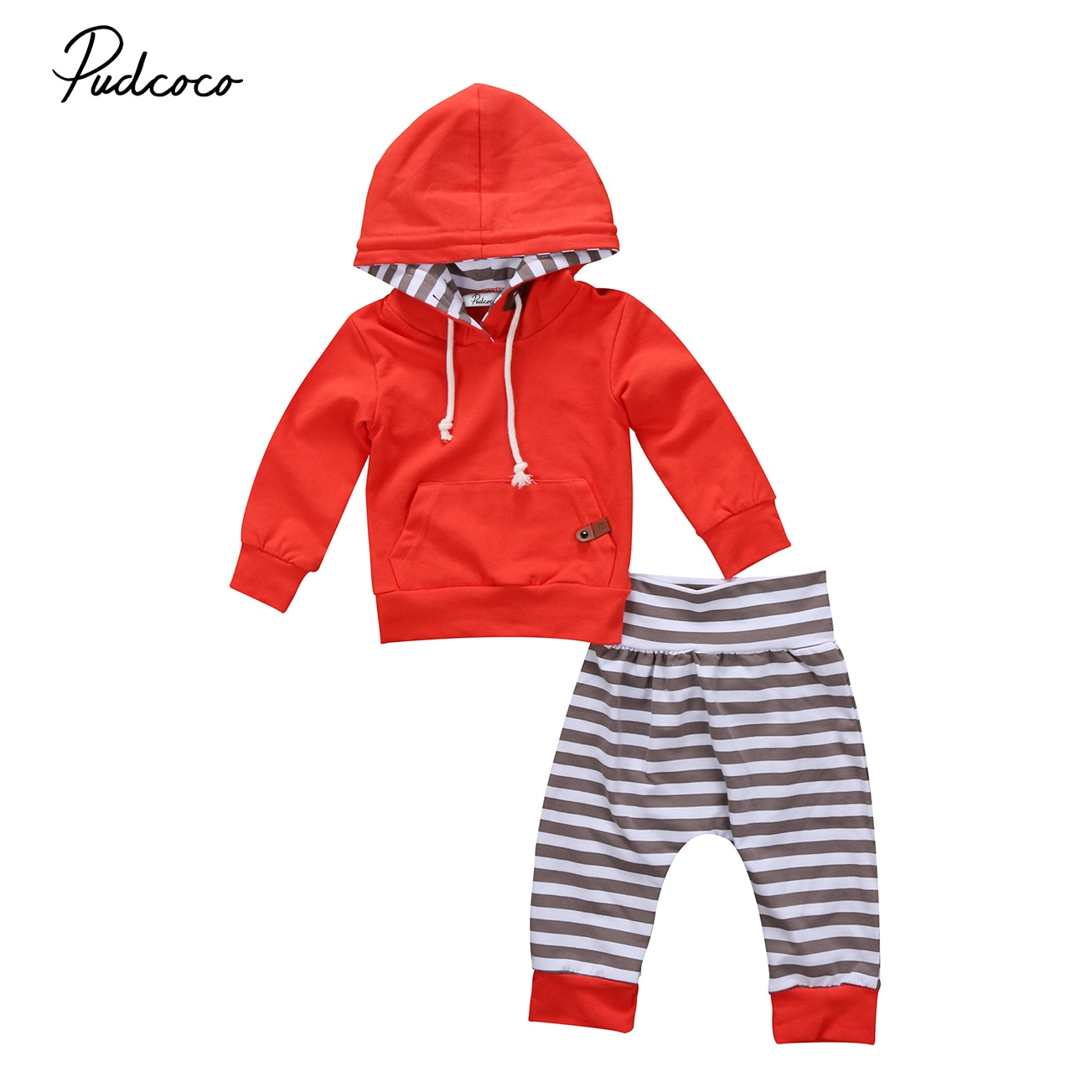 2 uds. Ropa para bebés recién nacidos, Ropa para Niñas, manga larga, raya de Bolsillo grande, camiseta con capucha, Tops, pantalones a rayas, conjunto de atuendo