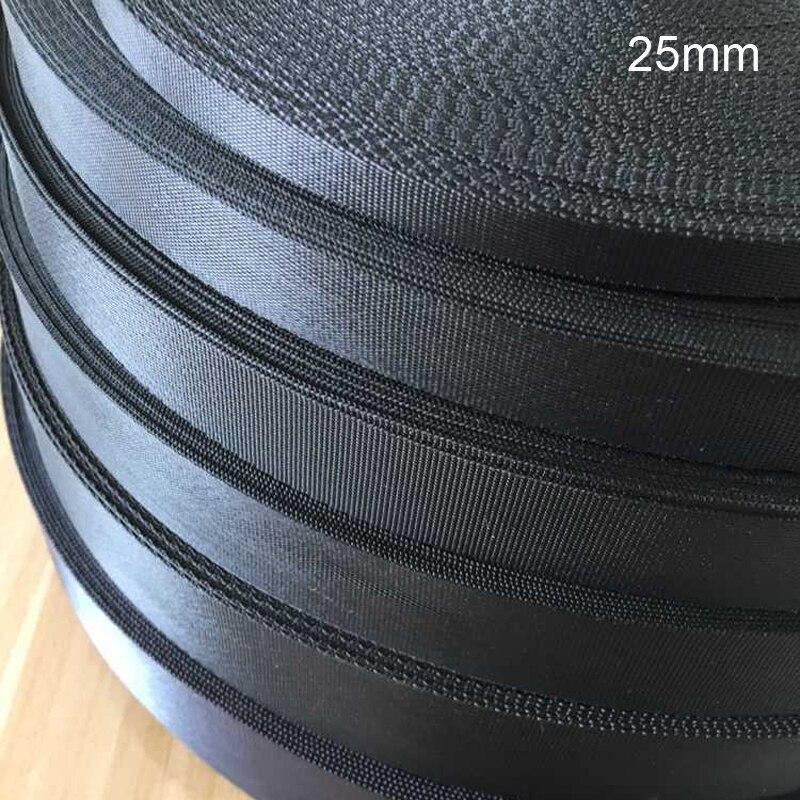25mm Preto Webbing 10 metros/lote Nylon Webbing Correia para Cinto Webbing Cintas de fixação de cargas harnags Alça Trançada mochila Cinto