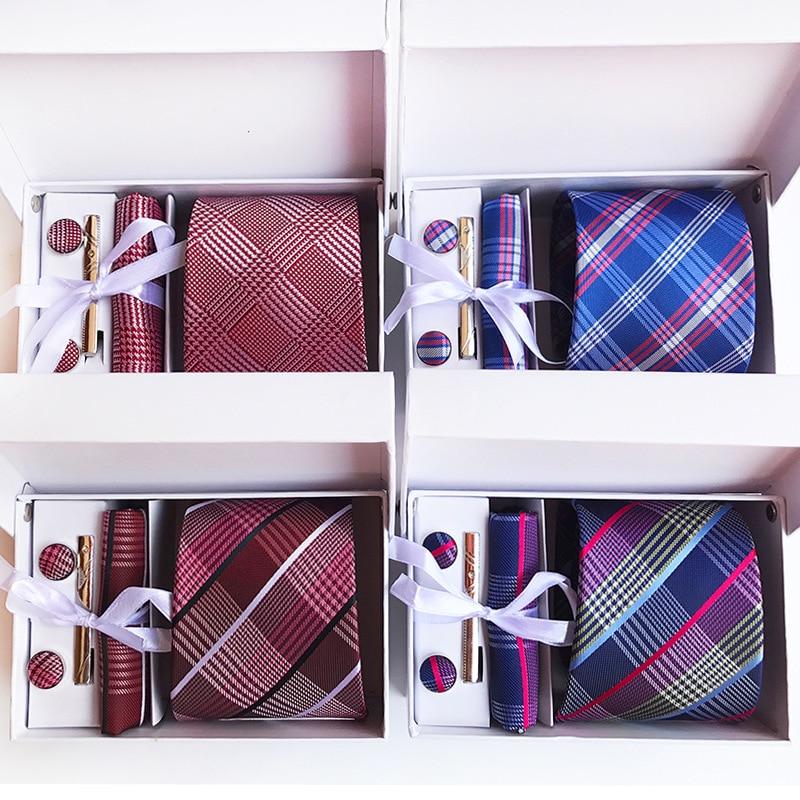 Corbatas clásicas de cuadros anchos de 3,35 pulgadas (8 Cm) para hombre, corbata de fiesta a la moda para boda, pañuelo, Pin y caja de regalo con gemelos de embalaje