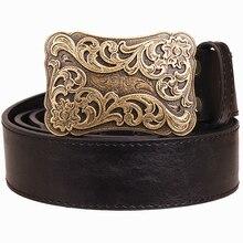 Tissage de boucle en métal pour femmes   Ceinture en cuir rétro motif Arabesque, jeans tendance punk rock, ceinture de décoration, cadeau pour femmes