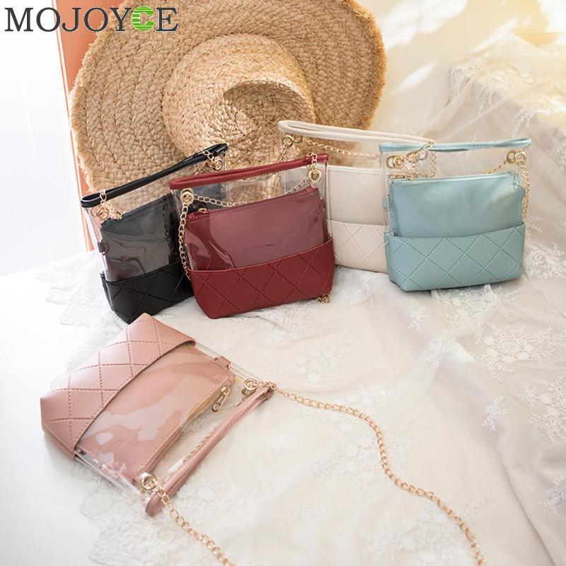 2pcs/set Women Transparent Bucket Bag Clear PVC Jelly Small Shoulder Bag Female Chain Crossbody Messenger Bags