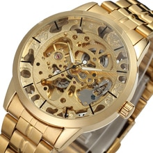 Men's Watch Gold Skeleton Watches Men Stainless Steel Automatic Mechanical Watch Transparent Hollow