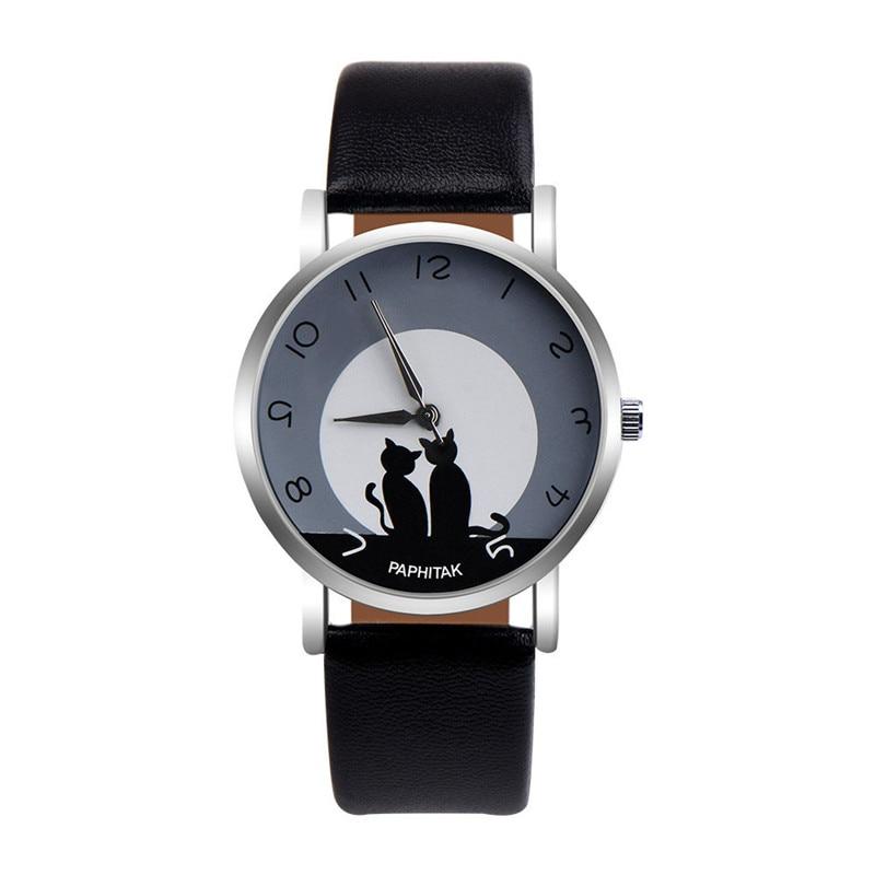 Relojes informales para mujer, Relojes de Cuero con patrón de gato bonito, relojes de pulsera de cuarzo para mujer, reloj de pulsera para mujer # D